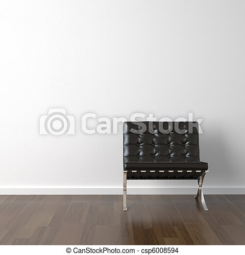 black leather chair on white wall - csp6008594