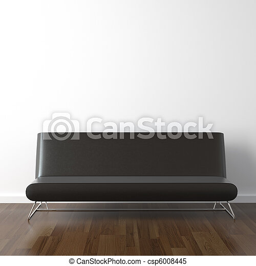 black leather couch on white - csp6008445