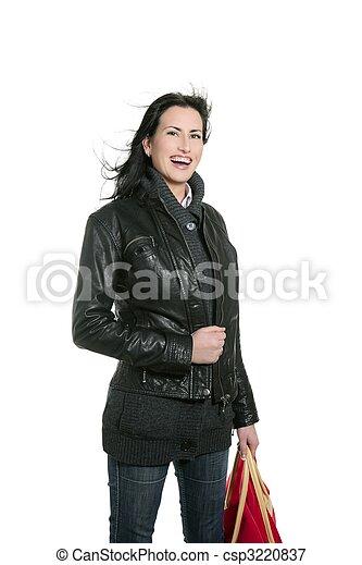 Black leather jacket shopper woman - csp3220837