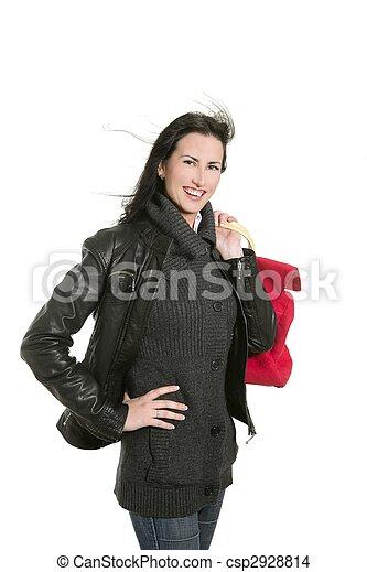 Black leather jacket shopper woman - csp2928814