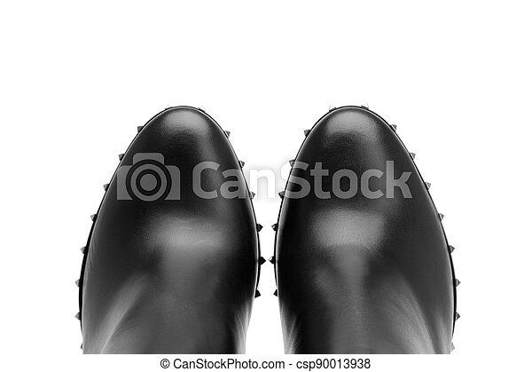 Black leather shoes on a white background - csp90013938