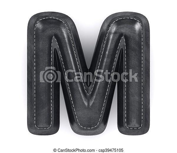 Black leather skin texture capital letter M