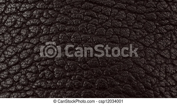 Black leather texture closeup detailed background. - csp12034001