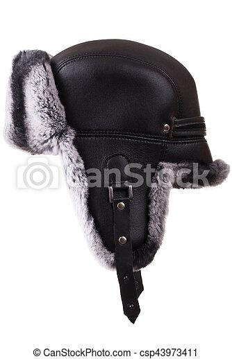54a257c670368 Black leather winter fur hat chinchilla - csp43973411