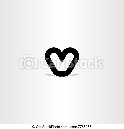Black Letter V Sign Symbol Design