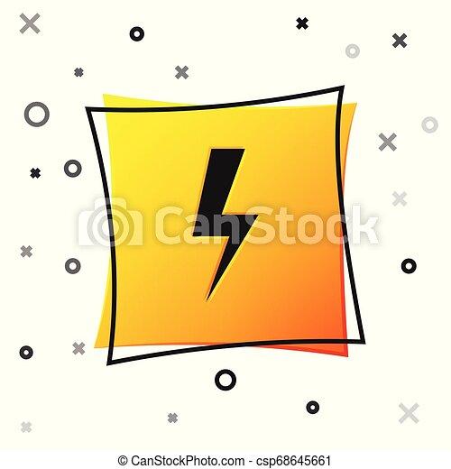 Black Lightning Bolt Icon Isolated On White Background Flash Icon Charge Flash Icon Thunder Bolt Lighting Strike Yellow