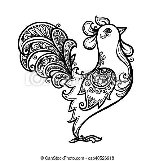 Black line art hand drawn vector rooster for coloring book - csp40526918