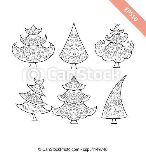 Black Line Christmas Tree Collection Coloring Book Page