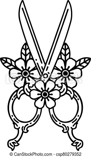 black line tattoo of a barber scissors and flowers - csp80279352