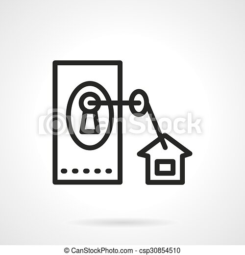 Black line vector icon for housing - csp30854510