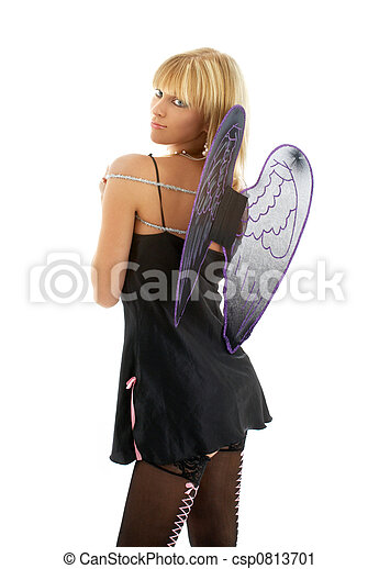 black lingerie angel blond - csp0813701