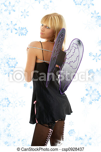 black lingerie angel blond with snowflakes - csp0928437