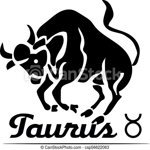 Black logo-icon for site, zodiac sign TAURUS, bull on white background, - csp56622063