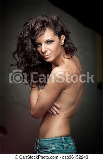 Black Long Curly  Hair. Fashion Girl Portrait. - csp36152243