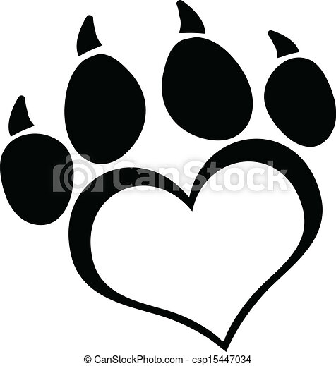 Black Love Paw Print With Claws - csp15447034