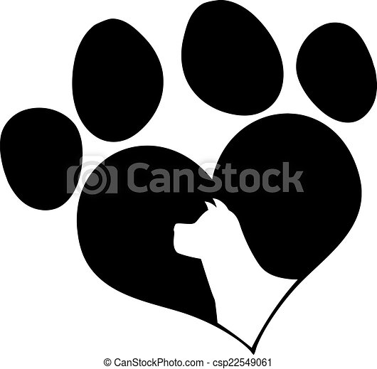 Black Love Paw Print With Dog Head  - csp22549061
