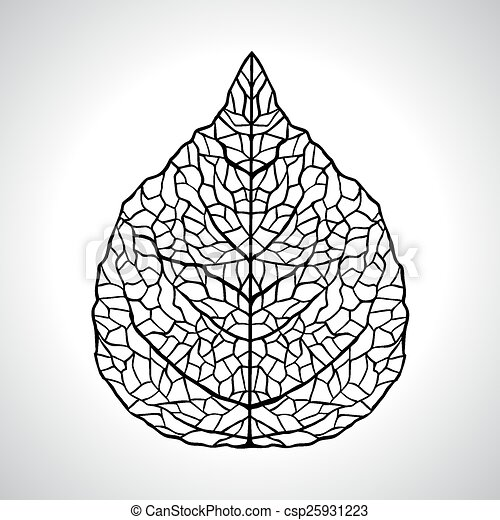 Black macro leaf natural isolated. Vector illustration - csp25931223