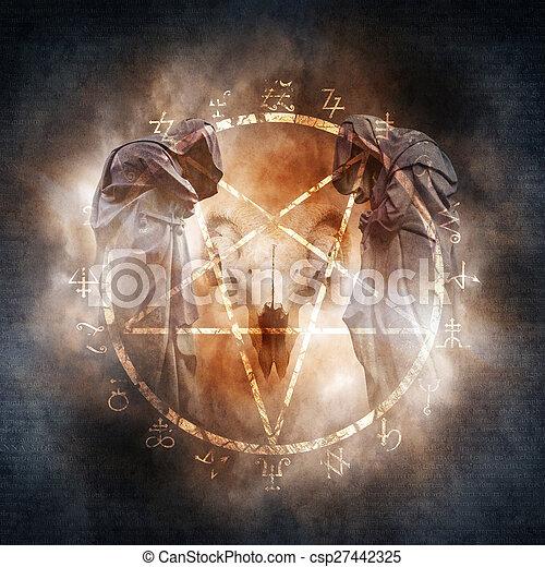 Black Magic Ritual Two Hooded Figures And A Demonic Ram Skull