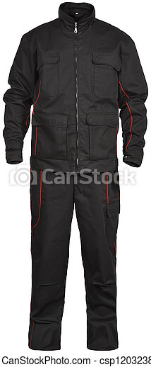 black male jumpsuit isolated on white - csp12032385