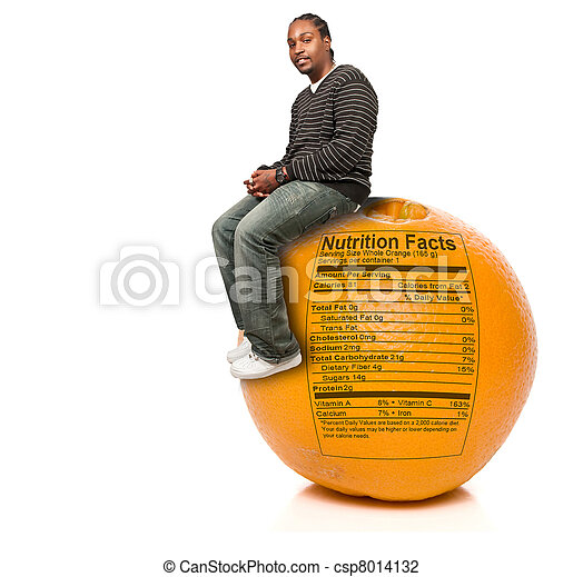 Black Man and Orange Nutrition Facts - csp8014132