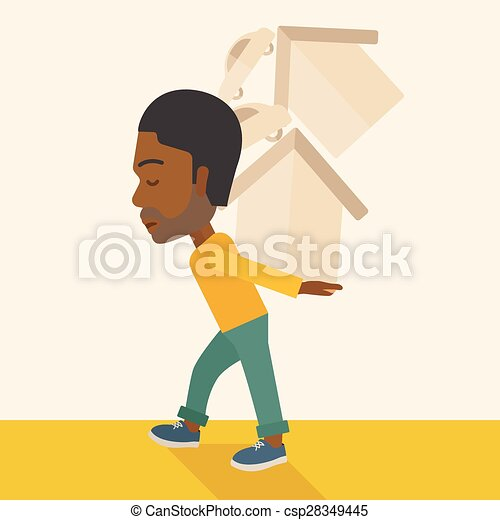Black man carrying house and car. - csp28349445