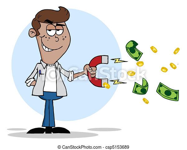 Black Man Collecting Cash - csp5153689