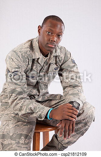 Black man in military uniform - csp21812109