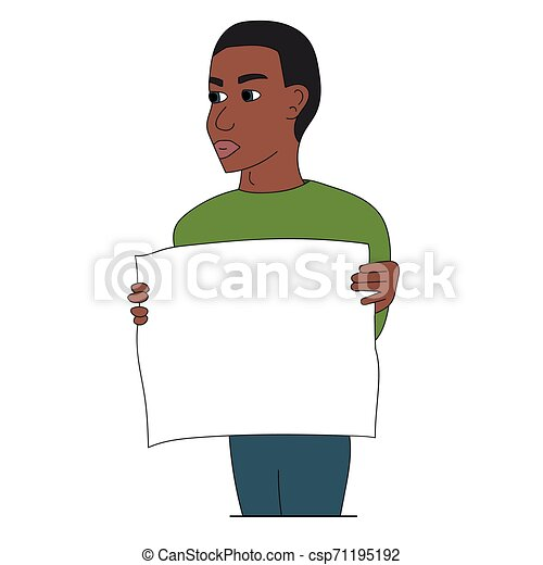 Black man protesting with a poster. Isolated stock vector illustration - csp71195192