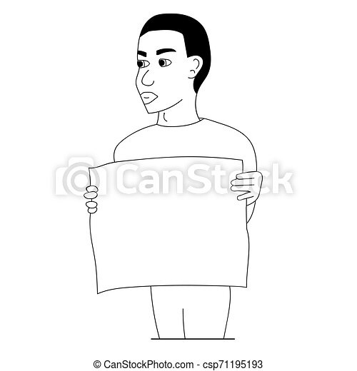 Black man protesting with a poster. Isolated outline stock vector illustration - csp71195193