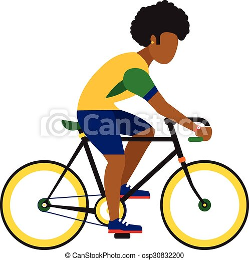 black man ride by road bicycle  Cycling sport vector flat illustration