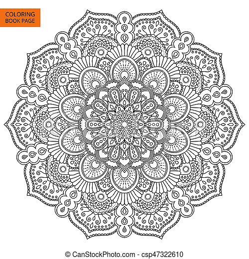 Black Mandala Coloring Book Page Black Mandala For Coloring Book Line Mandala Isolated On White Background Outline Mandala