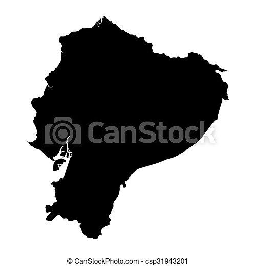 black map of Ecuador  - csp31943201