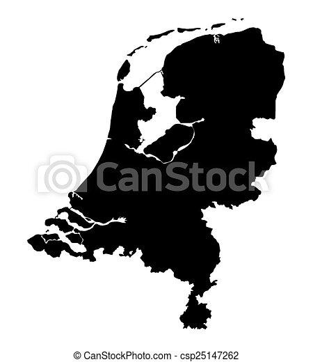 black map of Netherlands - csp25147262