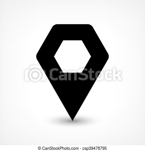 Black map pin flat location sign hexagon icon - csp39478795