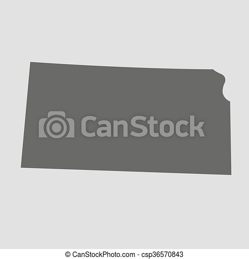 Black Map State Kansas Vector Illustration Black Map Of The State
