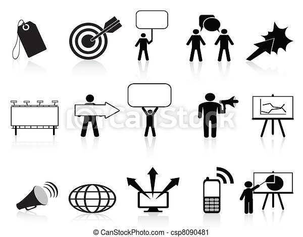 black marketing icons set - csp8090481