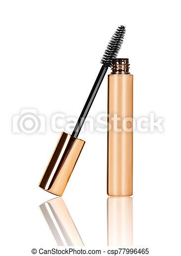 black mascara wand and tube isolated on white background - csp77996465