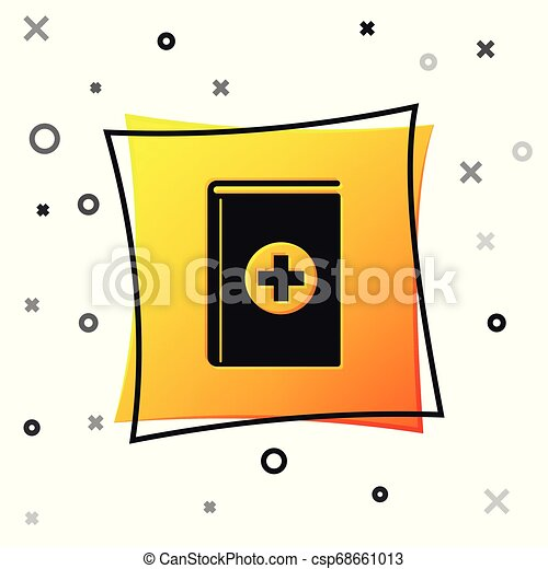 Black Medical book icon isolated on white background. Yellow square button. Vector Illustration - csp68661013