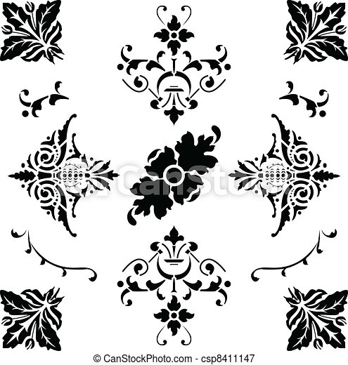Black medieval ornaments - csp8411147