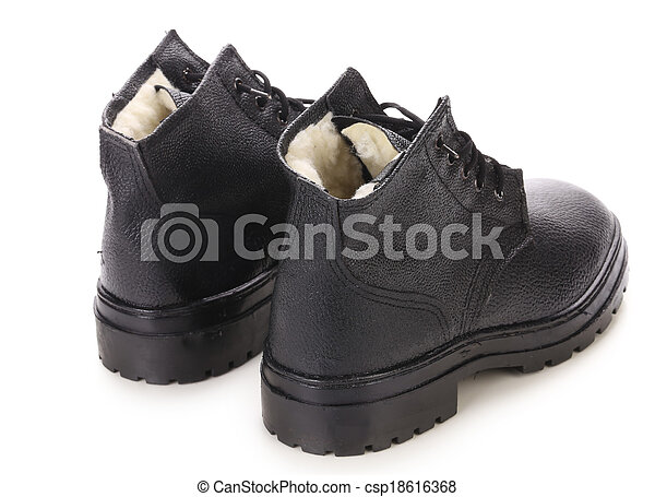 Black men's shoes. Isolated on a white background. - csp18616368