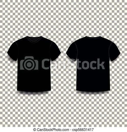 517405299 Black men's t-shirt template v-neck front and back side views. vector of  male t-shirt wearing illustration isolated on transparent background.