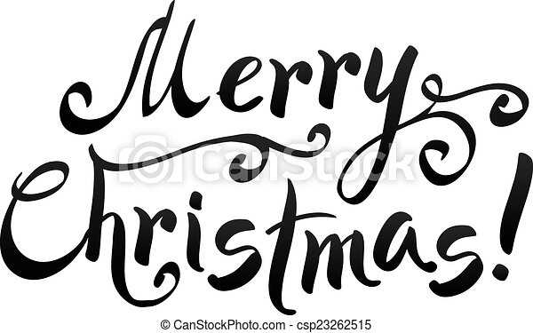 Black Merry Christmas Hand Writing Lettering Isolated On White Background