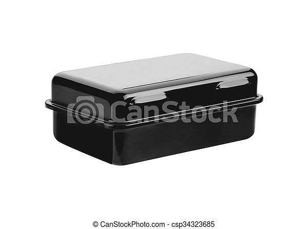 Black metal box isolated on white background - csp34323685