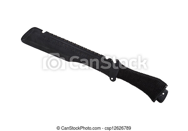 Black military knife, isolated on white - csp12626789