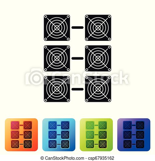 Black Mining farm icon on white background. Cryptocurrency mining, blockchain technology, bitcoin, digital money market, cryptocoin wallet. Set icon in color square buttons. Vector Illustration - csp67935162