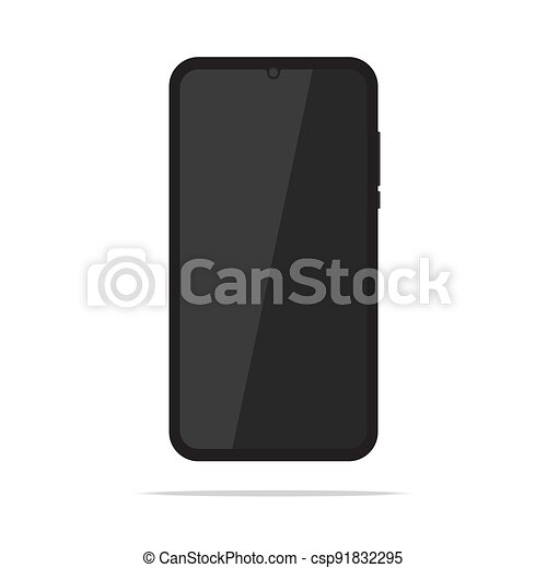 Black mobile phone isolated on white background - csp91832295