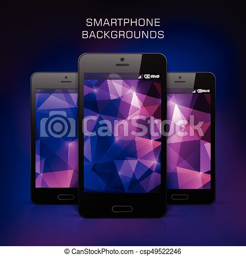 Black Mobile Phone With Triangular Background