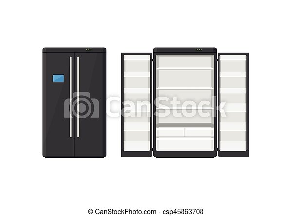 freezer clipart. black modern household appliances fridge with two doors isolated on white background. electronic device refrigerator freezer clipart