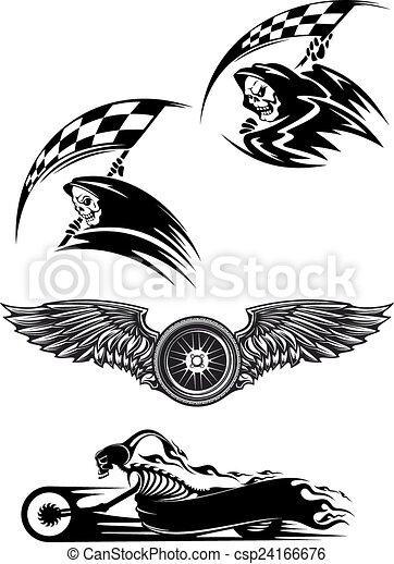 Black motocross mascot design - csp24166676