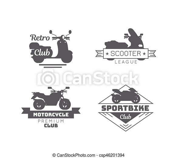 Black Motorcycle Logotypes Set - csp46201394